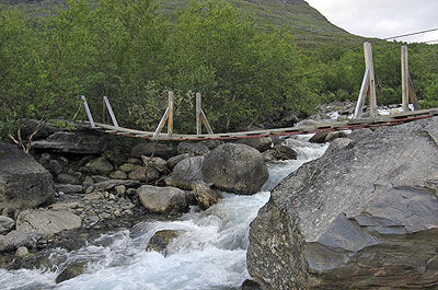 Bridge over  Siellajohka-river, Swedish Lapland