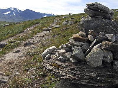 Piled stones beside the trail